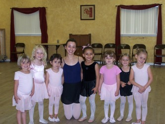 Little girls in Ballet class with teacher