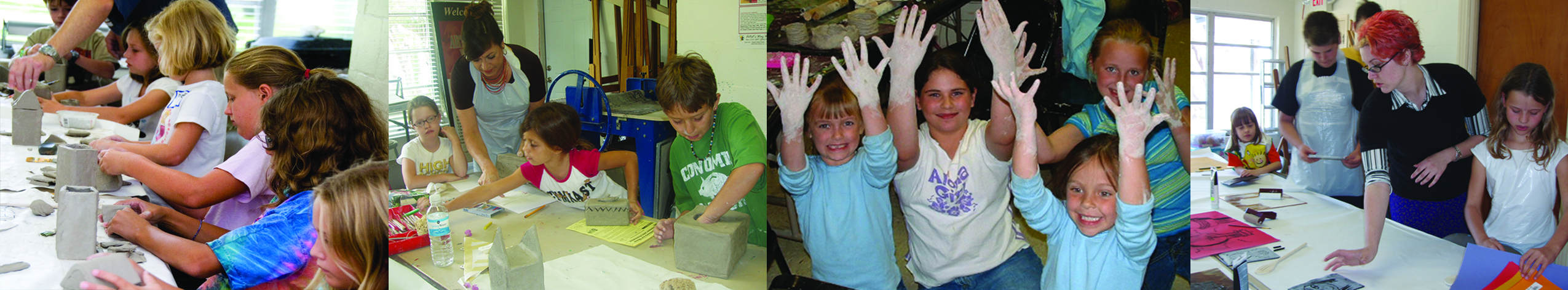 4-photo collage of kids making pottery in the Art House classroom