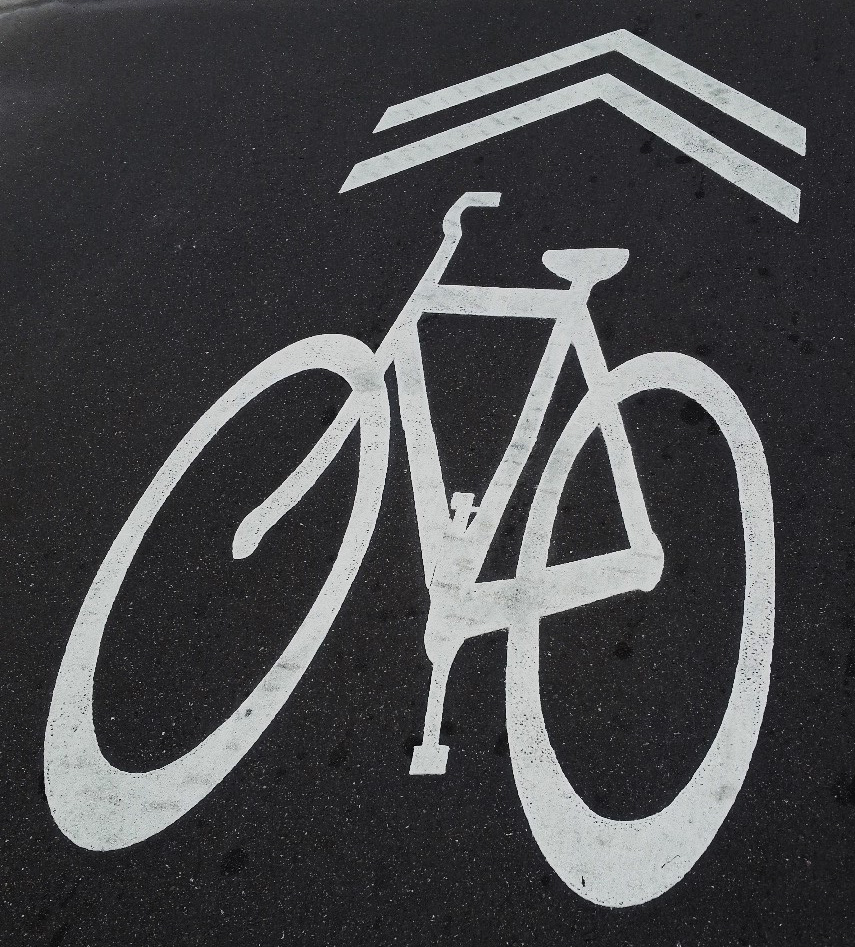 Bike symbol on asphalt (Shared lane marking)
